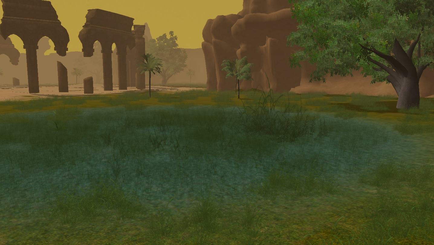 Imagem de uma zona com ruinas no Templo da Areia